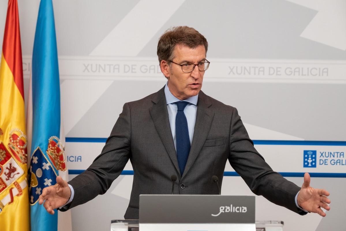 El presidente de la Xunta, Alberto Núñez Feijóo, en la rueda de prensa tras el Consello de la Xunta del 24 de octubre.