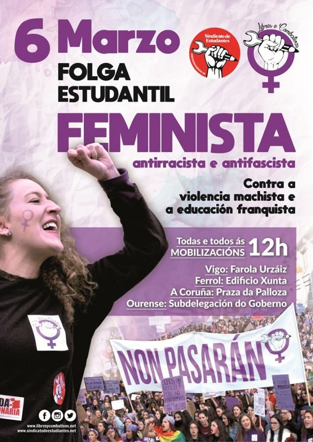 Cartel de la huelga estudiantil feminista del 6 de marzo