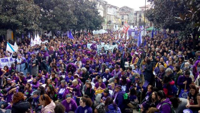 Manifestación feminista en Verín (Ourense) el 1 de marzo, precedente de este 8 de marzo de 2020