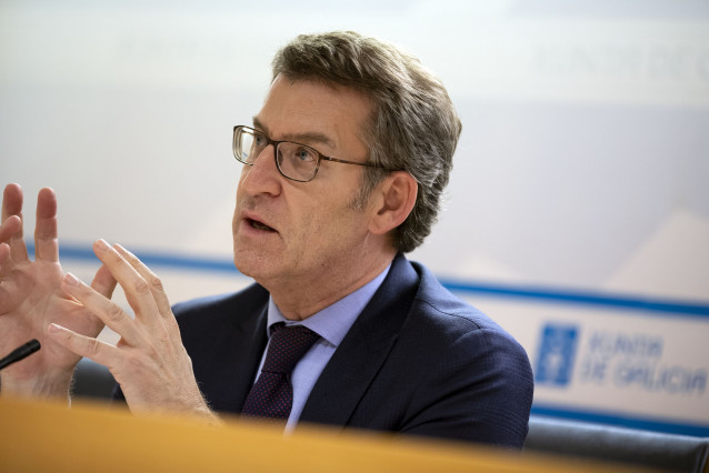 El presidente de la Xunta, Alberto Núñez Feijóo, habla de las medidas para frenar el coronavirus.
