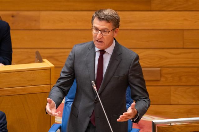 El presidente de la Xunta, Alberto Núñez Feijóo, comparece en el Parlamento de Galicia.