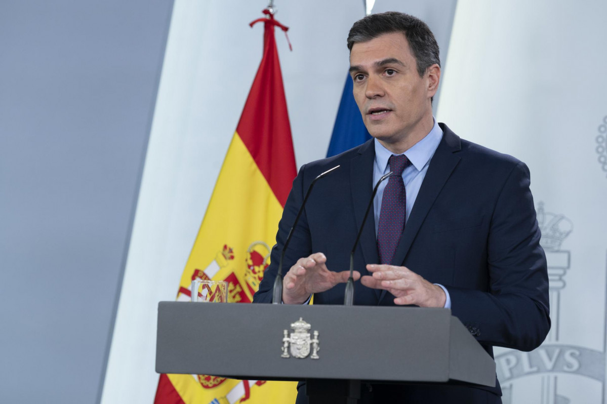 El president del Govern, Pedro Sánchez, durant una roda de premsa  en Moncloa