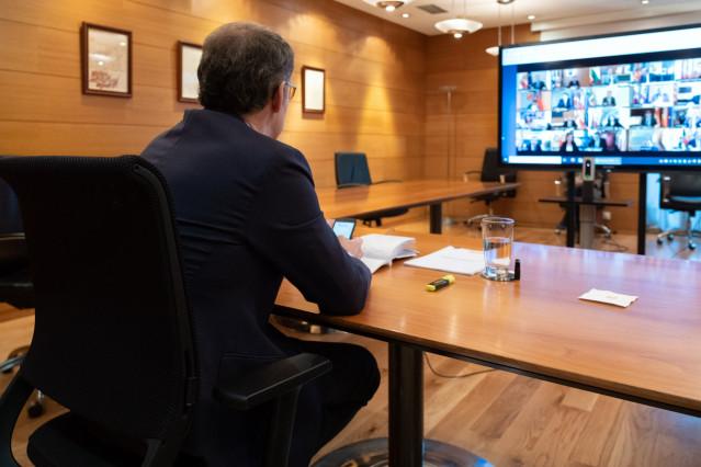 El presidente de la Xunta, Alberto Núñez Feijóo, en la videoconferencia de presidentes autonómicos con Pedro Sánchez.