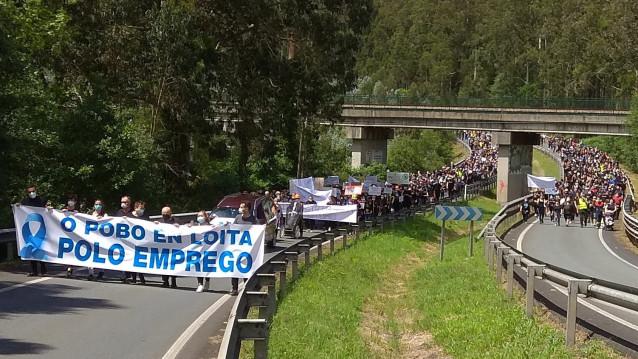 Manifestación en Xove para reclamar la continuidad de la industria de aluminio