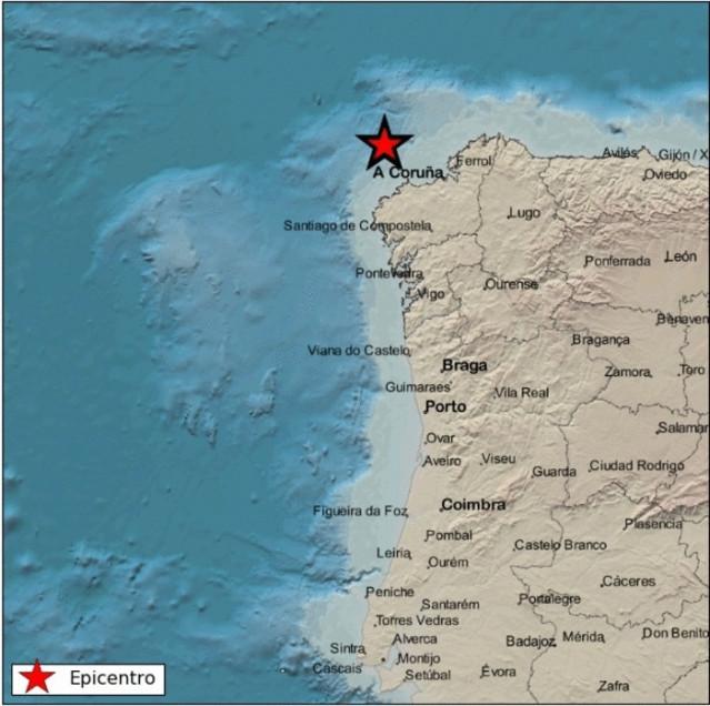 Epicentro del temblor en la costa noroeste de Galicia