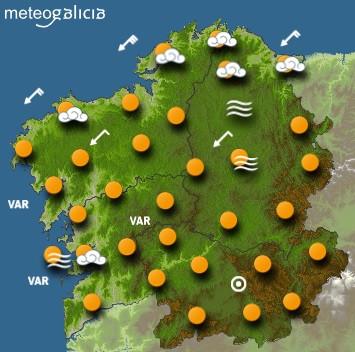 Predicciones para el miércoles 8 de julio en Galicia.