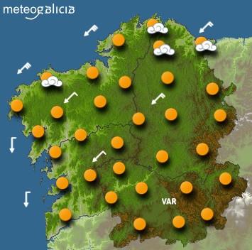 Predicciones para el viernes 17 de julio en Galicia.