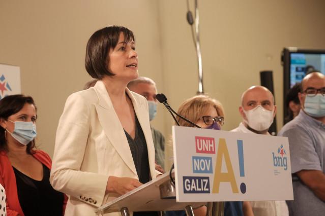 La portavoz nacional del BNG y candidata a la Xunta, Ana Pontón, ofrece una rueda de prensa, durante la noche electoral del 12J