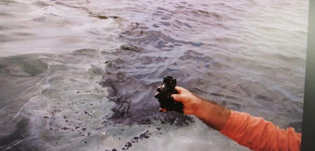 Mancha de fuel en la ría de Arousa detectada el 13 de octubre de 2020