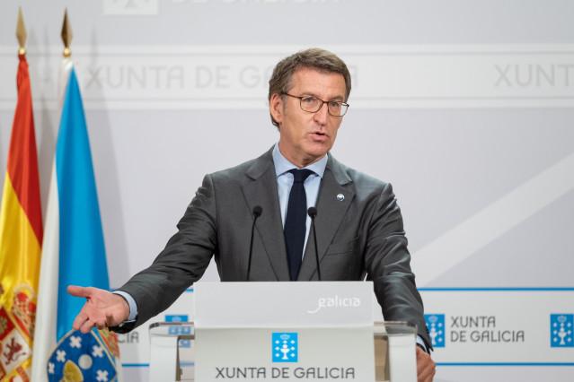 El presidente de la Xunta, Alberto Núñez Feijóo, en la rueda de prensa posterior a la reunión del Consello