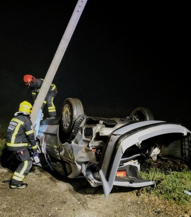 Accidente de tráfico mortal ocurrido en la recta de Tamaguelos, en Verín (Ourense).