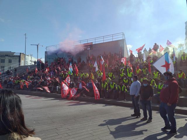 Asamblea de trabajadores del sector Metal de la provincia de Pontevedra, celebrada en Vigo.