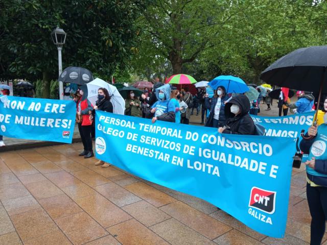 Protesta de trabajadoras del Consorcio Galego de Igualdade e Benestar