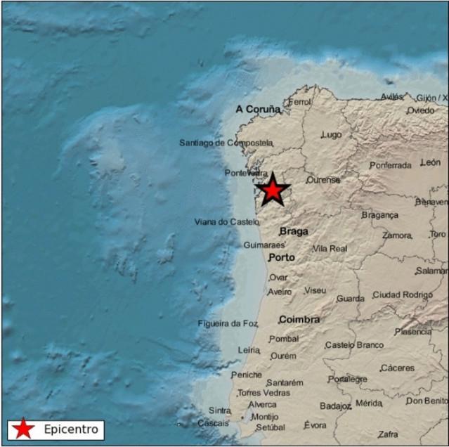 Epicentro del terremoto registrado este viernes en Mondariz-Balneario (Pontevedra)