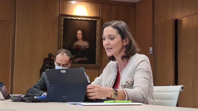 La ministra de Industria, Comercio y Turismo, Reyes Maroto, en una reunión telemática de ministros del G20.