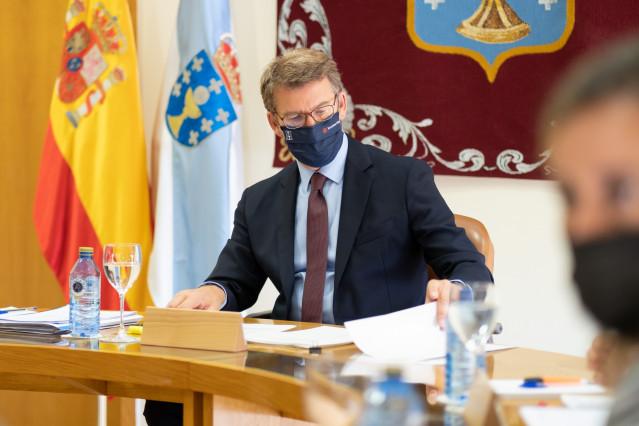 O titular do Goberno galego, Alberto Núñez Feijóo, preside a reunión do Consello da Xunta. Parlamento de Galicia, Santiago de Compostela, 26/05/21.