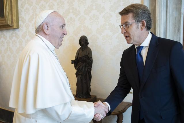 El presidente da Xunta, Alberto Núñez Feijóo, es recibido en audiencia por su santidad el papa Francisco. Vaticano, 14/06/21