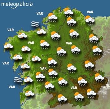 Predicciones para el miércoles 16 de junio en Galicia.