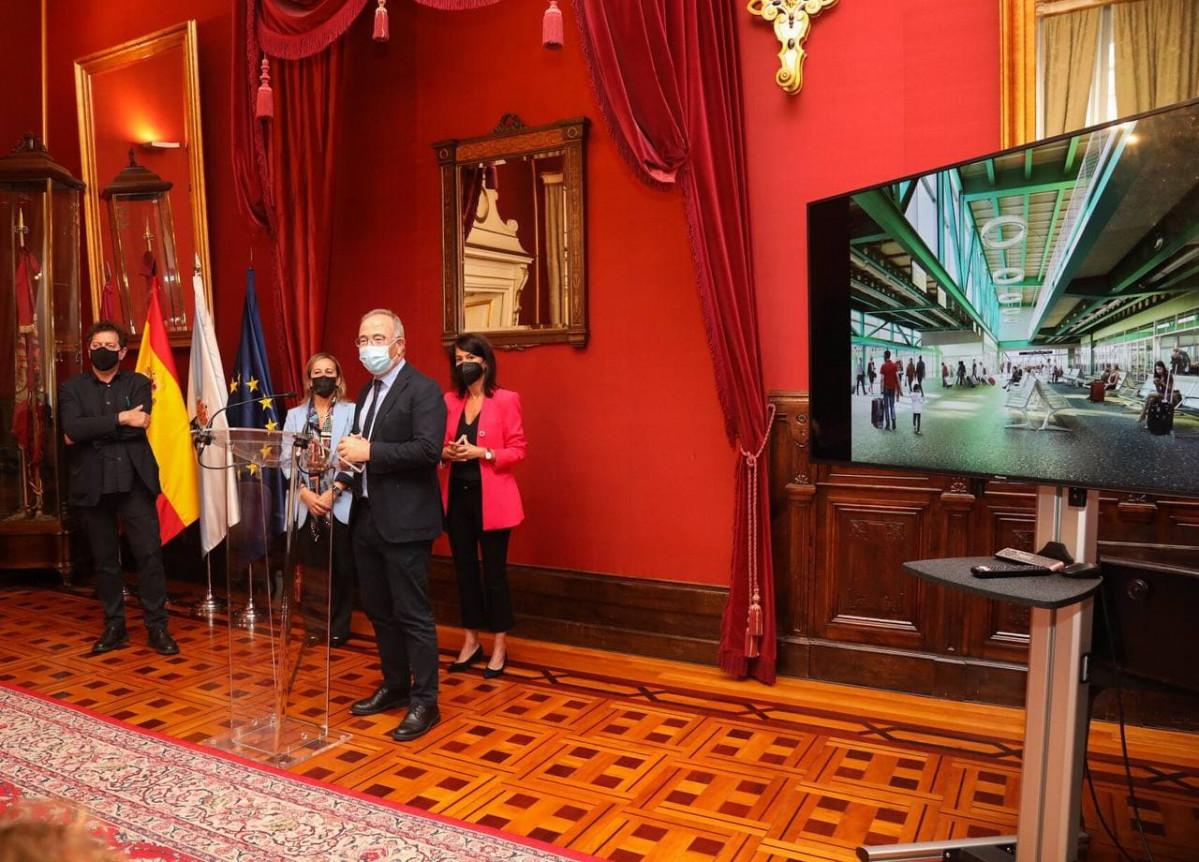 El alcalde Bugallo en la presentaciu00f3n de la nueva intermodal en una foto del Concello de Santiago