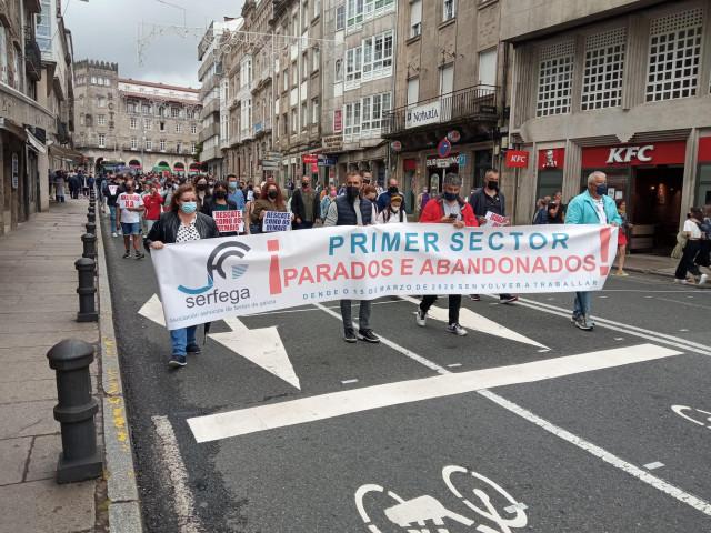 Manifestación del sector de las orquestas y verbenas de Galicia para pedir a Xunta y Gobierno protocolos y ayudas a las empresas